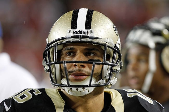 Sep 15, 2013; Tampa, FL, USA; New Orleans Saints wide receiver Lance Moore (16) during the second half against the Tampa Bay Buccaneers at Raymond James Stadium. New Orleans Saints defeated the Tampa Bay Buccaneers 16-14. Mandatory Credit: Kim Klement-USA TODAY Sports