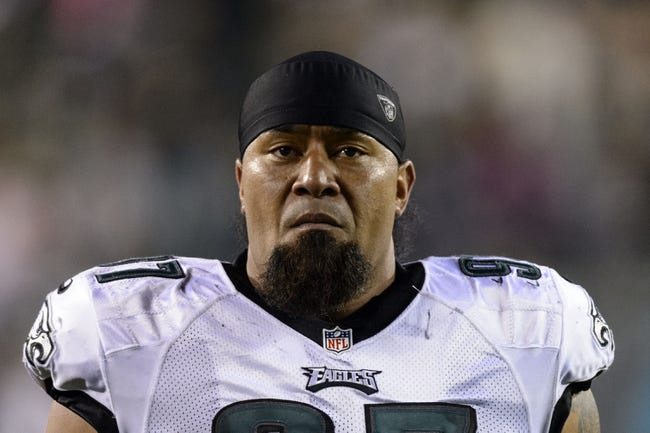 Aug 15, 2013; Philadelphia, PA, USA; Philadelphia Eagles defensive tackle Isaac Sopoaga (97) during the second quarter against the Carolina Panthers at Lincoln Financial Field. The Eagles defeated the Panthers 14-9. Mandatory Credit: Howard Smith-USA TODAY Sports