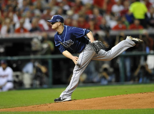 Oct 2, 2013; Cleveland, OH, USA; Tampa Bay Rays starting pitcher Alex Cobb (53) throws against the Cleveland Indians during the first inning in the American League wild card playoff game at Progressive Field. Mandatory Credit: David Richard-USA TODAY Sports
