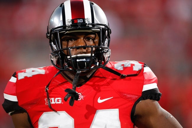 Sep 28, 2013; Columbus, OH, USA; Ohio State Buckeyes running back Carlos Hyde (34) before the game against the Wisconsin Badgers at Ohio Stadium. Buckeyes beat the Badgers 31-24. Mandatory Credit: Raj Mehta-USA TODAY Sports