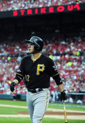 Oct 3, 2013; St. Louis, MO, USA; Pittsburgh Pirates shortstop Clint Barmes (12) walks back to the dugout after striking out against St. Louis Cardinals starting pitcher Adam Wainwright (not pictured) during the fifth inning in game one of the National League divisional series playoff baseball game at Busch Stadium. St. Louis defeated Pittsburgh 9-1. Mandatory Credit: Jeff Curry-USA TODAY Sports