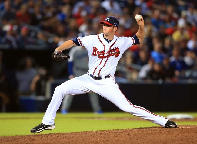 Oct 3, 2013; Atlanta, GA, USA; Atlanta Braves relief pitcher Alex Wood (58) throws against the Los Angeles Dodgers during the seventh inning of game one of the National League divisional series playoff baseball game at Turner Field. Mandatory Credit: Daniel Shirey-USA TODAY Sports
