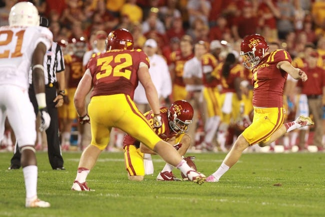 Oct 3, 2013; Ames, IA, USA; Iowa State Cyclones place kicker Cole Netten (1) kicks a field goal againt the Texas Longhorns during the second quarter at Jack Trice Stadium. Mandatory Credit: Reese Strickland-USA TODAY Sports