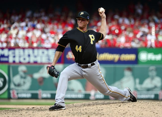 Oct 4, 2013; St. Louis, MO, USA; Pittsburgh Pirates relief pitcher Tony Watson throws a pitch against the St. Louis Cardinals in the seventh inning in game two of the National League divisional series playoff baseball game at Busch Stadium. Mandatory Credit: Scott Rovak-USA TODAY Sports