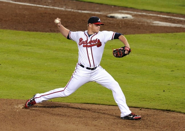 Oct 4, 2013; Atlanta, GA, USA; Atlanta Braves relief pitcher David Carpenter (48) throws against the Los Angeles Dodgers during the eighth inning of game two of the National League divisional series playoff baseball game at Turner Field. The Braves won 4-3. Mandatory Credit: Dale Zanine-USA TODAY Sports