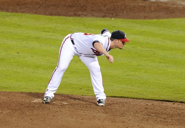 Oct 4, 2013; Atlanta, GA, USA; Atlanta Braves relief pitcher Craig Kimbrel (46) throws against the Los Angeles Dodgers during the ninth inning of game two of the National League divisional series playoff baseball game at Turner Field. The Braves won 4-3. Mandatory Credit: Dale Zanine-USA TODAY Sports