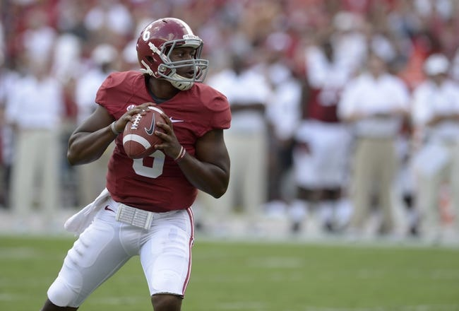 Oct 5, 2013; Tuscaloosa, AL, USA; Alabama Crimson Tide quarterback Blake Sims (6) drops back to pass against the Georgia State Panthers during the second quarter at Bryant-Denny Stadium. Mandatory Credit: John David Mercer-USA TODAY Sports