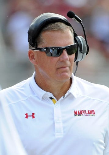 Oct 5, 2013; Tallahassee, FL, USA; Maryland Terrapins head coach Randy Edsall during the game against the Florida State Seminoles at Doak Campbell Stadium. Mandatory Credit: Melina Vastola-USA TODAY Sports