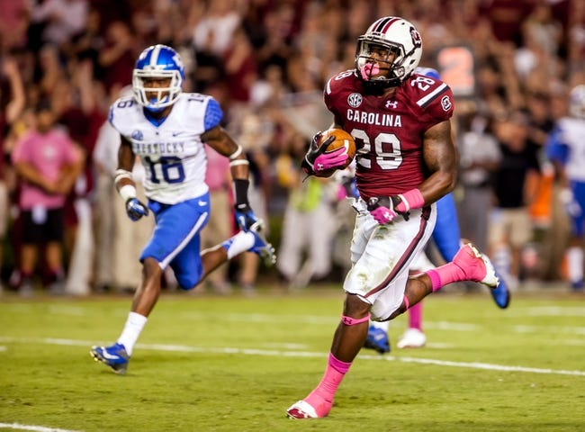 Oct 5, 2013; Columbia, SC, USA; South Carolina Gamecocks running back Mike Davis (28) runs for a 22 yard touchdown against the Kentucky Wildcats in the first quarter at Williams-Brice Stadium. Mandatory Credit: Jeff Blake-USA TODAY Sports