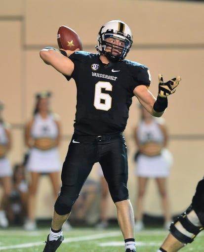 Oct 5, 2013; Nashville, TN, USA; Vanderbilt Commodores quarterback Austyn Carter-Samuels (6) passes against the Missouri Tigers during the first half at Vanderbilt Stadium. Mandatory Credit: Don McPeak-USA TODAY Sports