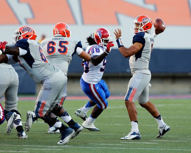 Oct 5, 2013; El Paso, TX, USA; UTEP Miners quarterback Jameill Showers (1) drops back to pass against the  Louisiana Tech Bulldogs at Sun Bowl Stadium. Mandatory Credit: Ivan Pierre Aguirre-USA TODAY Sports