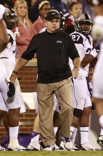 Oct 5, 2013; Norman, OK, USA;  TCU Horned Frogs head coach Gary Patterson on the sidelines during the game against the Oklahoma Sooners at Gaylord Family - Oklahoma Memorial Stadium. The Oklahoma Sooners beat the TCU Horned Frogs 20-17. Mandatory Credit: Tim Heitman-USA TODAY Sports
