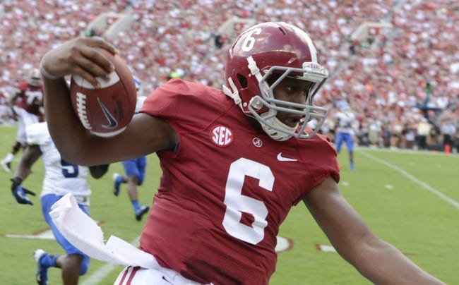 Oct 5, 2013; Tuscaloosa, AL, USA; Alabama Crimson Tide quarterback Blake Sims (6) scrambles to the sideline against the Georgia State Panthers during the second quarter at Bryant-Denny Stadium. Mandatory Credit: John David Mercer-USA TODAY Sports