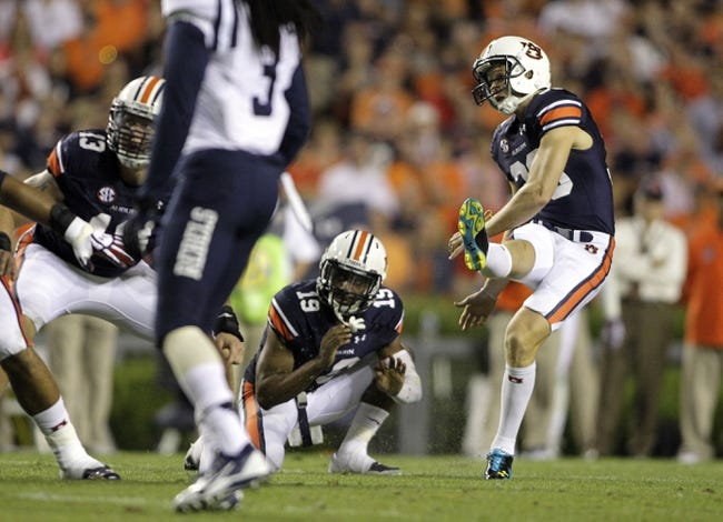 Oct 5, 2013; Auburn, AL, USA;  Auburn Tigers kicker Cody Parkey (36) kicks a field goal against the Mississippi Rebels during the second half at Jordan Hare Stadium.  The Tigers beat the Rebels 30-22. Mandatory Credit: John Reed-USA TODAY Sports