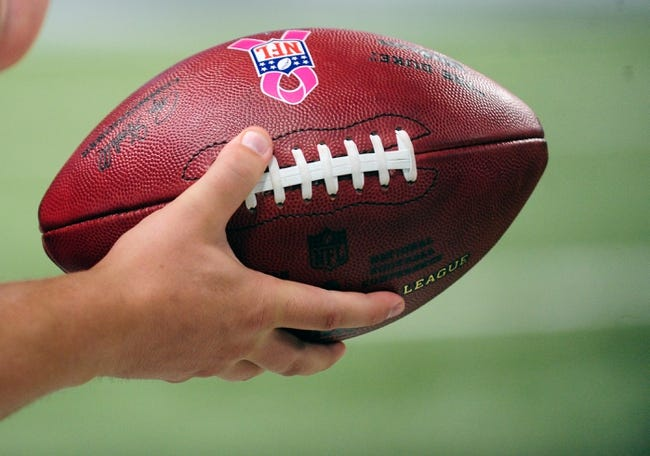 Oct 6, 2013; St. Louis, MO, USA; NFL footballs have pink ribbons on them for breast cancer awareness month during a game between the St. Louis Rams and the Jacksonville Jaguars at the Edward Jones Dome. St. Louis defeated Jacksonville 34-20. Mandatory Credit: Jeff Curry-USA TODAY Sports