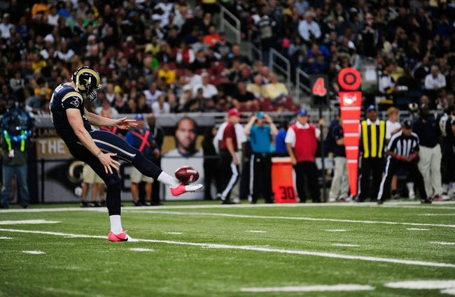 Oct 6, 2013; St. Louis, MO, USA; St. Louis Rams punter Johnny Hekker (6) punts the football during the second half against the Jacksonville Jaguars at the Edward Jones Dome. St. Louis defeated Jacksonville 34-20. Mandatory Credit: Jeff Curry-USA TODAY Sports