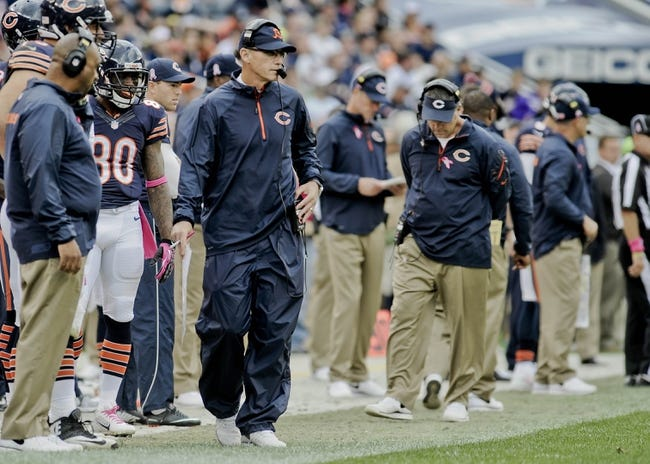 Oct 6, 2013; Chicago, IL, USA; Chicago Bears head coach Marc Trestman walks the sidelines against the New Orleans Saints during the second half at Soldier Field.  Mandatory Credit: Matt Marton-USA TODAY Sports