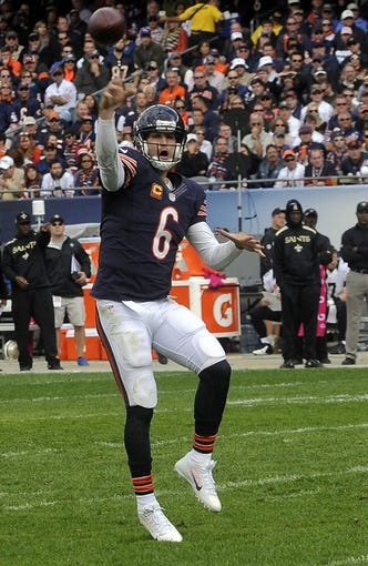 Oct 6, 2013; Chicago, IL, USA; Chicago Bears quarterback Jay Cutler (6) throws a pass during the second half against New Orleans at Soldier Field.  Mandatory Credit: Matt Marton-USA TODAY Sports