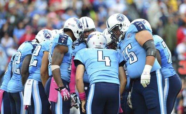 Oct 6, 2013; Nashville, TN, USA; The Tennessee Titans offensive squad huddles in a game against the Kansas City Chiefs during the first half at LP Field. The Chiefs beat the Titans 26-17. Mandatory Credit: Don McPeak-USA TODAY Sports