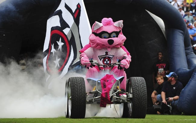 Oct 6, 2013; Nashville, TN, USA; The Tennessee Titans mascot leads the team onto the field before a game against the Kansas City Chiefs at LP Field. The Chiefs beat the Titans 26-17. Mandatory Credit: Don McPeak-USA TODAY Sports