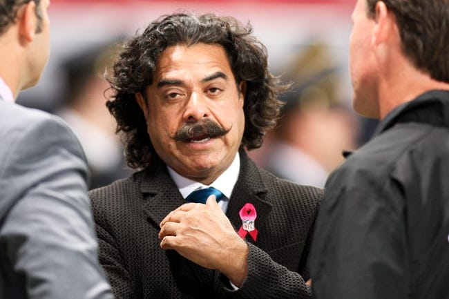 Oct 6, 2013; St. Louis, MO, USA; Jacksonville Jaguars owner Shahid Khanas seen before a game against the St. Louis Rams at The Edward Jones Dome. Mandatory Credit: Scott Kane-USA TODAY Sports