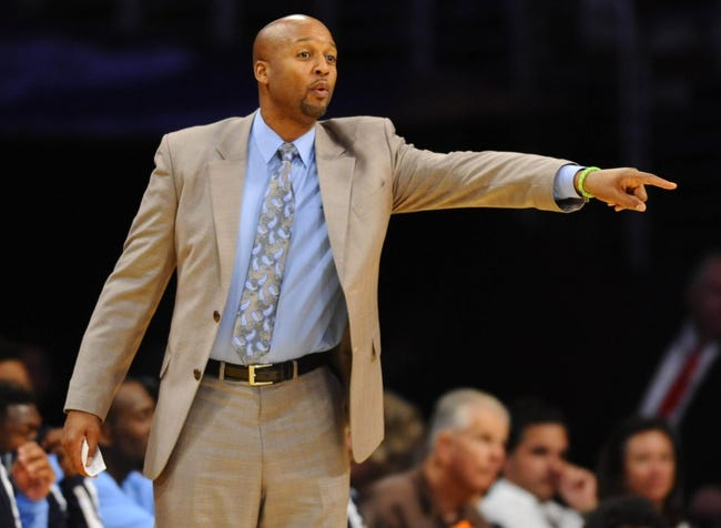 Oct 6, 2013; Los Angeles, CA, USA; Denver Nuggets head coach Brian Shaw during the second half against the Los Angeles Lakers at Staples Center. Mandatory Credit: Christopher Hanewinckel-USA TODAY Sports