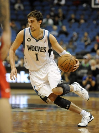 Oct 7, 2013; Minneapolis, MN, USA;  Minnesota Timberwolves guard Alexey Shved (1) brings the ball up court in the fourth quarter against the CSKA Moscow at Target Center.  CSKA Moscow defeated the Minnesota Timberwolves 108-106 in overtime.  Mandatory Credit: Marilyn Indahl-USA TODAY Sports