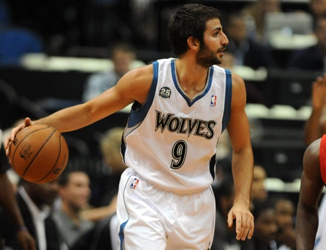 Oct 7, 2013; Minneapolis, MN, USA;  Minnesota Timberwolves guard Ricky Rubio (9) looks to pass in the first half against the CSKA Moscow at Target Center.  CSKA Moscow defeated the Minnesota Timberwolves 108-106 in overtime.  Mandatory Credit: Marilyn Indahl-USA TODAY Sports