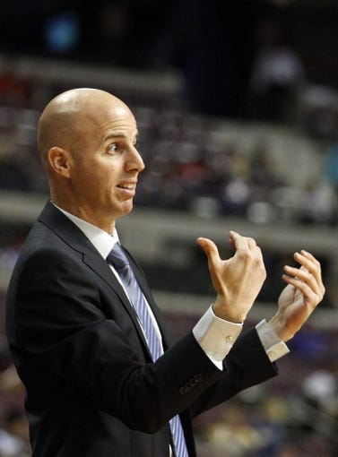 Oct 8, 2013; Auburn Hills, MI, USA; Haifa head coach Danny Franco reacts during the first quarter against the Detroit Pistons at The Palace of Auburn Hills. Mandatory Credit: Raj Mehta-USA TODAY Sports