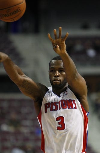 Oct 8, 2013; Auburn Hills, MI, USA; Detroit Pistons guard Rodney Stuckey (3) makes a pass during the fourth quarter against Haifa at The Palace of Auburn Hills. Pistons beat Haifa 91-69. Mandatory Credit: Raj Mehta-USA TODAY Sports