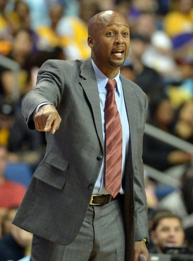 Oct 8, 2013; Ontario, CA, USA; Denver Nuggets coach Brian Shaw reacts during the game against the Los Angeles Lakers at Citizens Business Bank Arena. The Lakers defeated the Nuggest 90-88. Mandatory Credit: Kirby Lee-USA TODAY Sports