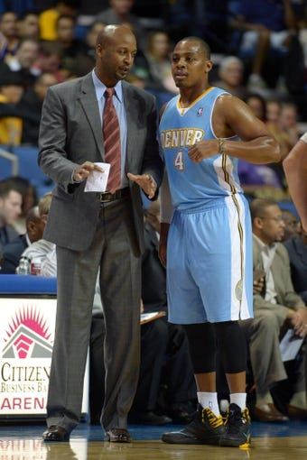 Oct 8, 2013; Ontario, CA, USA; Denver Nuggets coach Brian Shaw (left) and guard Randy Foye (4) during the game against the Los Angeles Lakers at Citizens Business Bank Arena. The Lakers defeated the Nuggest 90-88. Mandatory Credit: Kirby Lee-USA TODAY Sports