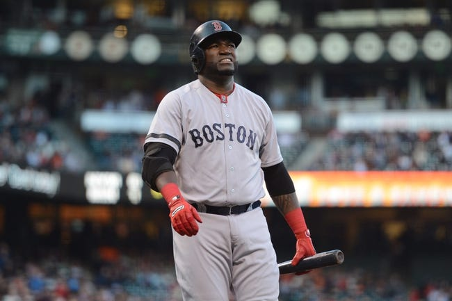 August 19, 2013; San Francisco, CA, USA; Boston Red Sox designated hitter David Ortiz (34) reacts after fouling a ball during the first inning against the San Francisco Giants at AT&T Park. The Red Sox defeated the Giants 7-0. Mandatory Credit: Kyle Terada-USA TODAY Sports