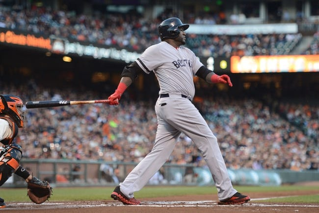 August 19, 2013; San Francisco, CA, USA; Boston Red Sox designated hitter David Ortiz (34) bats during the first inning against the San Francisco Giants at AT&T Park. The Red Sox defeated the Giants 7-0. Mandatory Credit: Kyle Terada-USA TODAY Sports