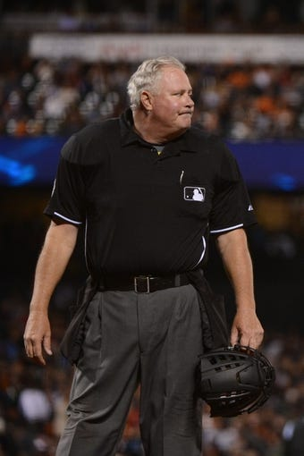 August 19, 2013; San Francisco, CA, USA; MLB umpire Tim Welke (3) during the fourth inning between the San Francisco Giants and the Boston Red Sox at AT&T Park. The Red Sox defeated the Giants 7-0. Mandatory Credit: Kyle Terada-USA TODAY Sports