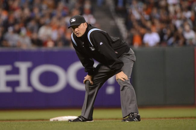 August 19, 2013; San Francisco, CA, USA; MLB umpire Dan Bellino (2) during the third inning between the San Francisco Giants and the Boston Red Sox at AT&T Park. The Red Sox defeated the Giants 7-0. Mandatory Credit: Kyle Terada-USA TODAY Sports