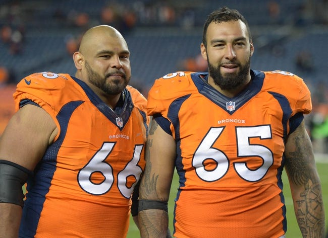 Sep 23, 2013; Denver, CO, USA; Denver Broncos guard Luis Vasquez (65) and center Manny Ramirez (66) pose after the game against the Oakland Raiders at Sports Authority Field at Mile High. The Broncos defeated the Raiders 37-21.  Mandatory Credit: Kirby Lee-USA TODAY Sports