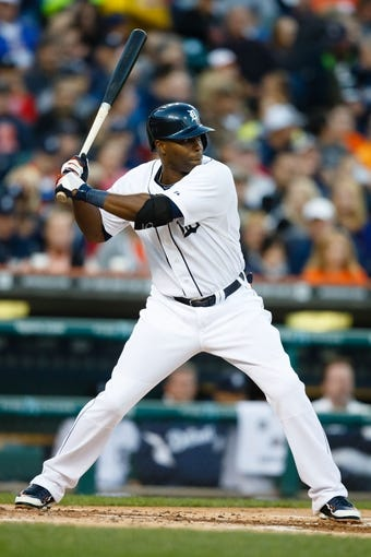 Sep 16, 2013; Detroit, MI, USA; Detroit Tigers right fielder Torii Hunter (48) at bat against the Seattle Mariners at Comerica Park. Mandatory Credit: Rick Osentoski-USA TODAY Sports