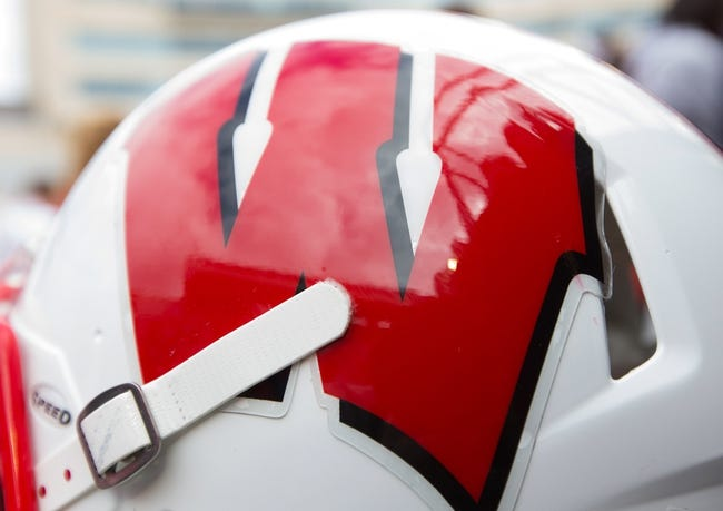 Sep 21, 2013; Madison, WI, USA;  A Wisconsin Badgers helmet during warmups prior to the game against the Purdue Boilermakers at Camp Randall Stadium. Wisconsin defeated Purdue 41-10.  Mandatory Credit: Jeff Hanisch-USA TODAY Sports