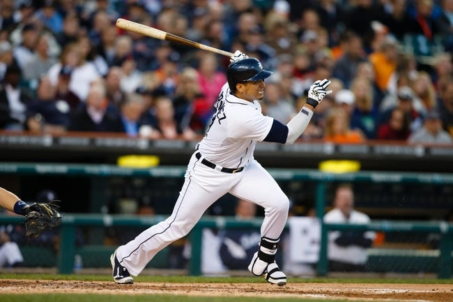 Sep 16, 2013; Detroit, MI, USA; Detroit Tigers designated hitter Victor Martinez (41) at bat against the Seattle Mariners at Comerica Park. Mandatory Credit: Rick Osentoski-USA TODAY Sports