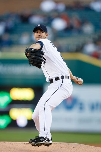 Sep 16, 2013; Detroit, MI, USA; Detroit Tigers starting pitcher Rick Porcello (21) pitches against the Seattle Mariners at Comerica Park. Mandatory Credit: Rick Osentoski-USA TODAY Sports