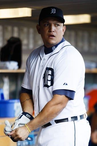 Sep 16, 2013; Detroit, MI, USA; Detroit Tigers third baseman Miguel Cabrera (24) in the dugout before the game against the Seattle Mariners at Comerica Park. Mandatory Credit: Rick Osentoski-USA TODAY Sports