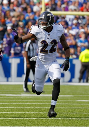 Sep 29, 2013; Orchard Park, NY, USA; Baltimore Ravens cornerback Jimmy Smith (22) against the Buffalo Bills at Ralph Wilson Stadium. Mandatory Credit: Timothy T. Ludwig-USA TODAY Sports