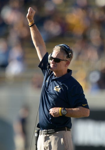 Oct 5, 2013; Berkeley, CA, USA; California Golden Bears defensive tackles coach Barry Sacks gestures during the game against the Washington State Cougars at Memorial Stadium. Washington State defeated California 44-22. Mandatory Credit: Kirby Lee-USA TODAY Sports