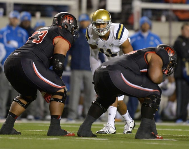 Oct 3, 2013; Salt Lake City, UT, USA; UCLA Bruins linebacker Anthony Barr (11) during the game against the Utah Utes at Rice-Eccles Stadium. UCLA defeated Utah 34-27. Mandatory Credit: Kirby Lee-USA TODAY Sports