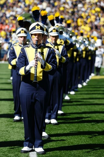 Sep 14, 2013; Ann Arbor, MI, USA; Michigan marching band before the game against the Akron Zips at Michigan Stadium. Mandatory Credit: Rick Osentoski-USA TODAY Sports