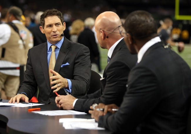 Sep 30, 2013; New Orleans, LA, USA; ESPN pre-game analysts Steve Young and Trent Dilfer and Ray Lewis on the Monday Night Football set before the game between the New Orleans Saints and the Miami Dolphins at the Mercedes-Benz Superdome. Mandatory Credit: Chuck Cook-USA TODAY Sports