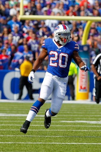 Sep 29, 2013; Orchard Park, NY, USA; Buffalo Bills running back Tashard Choice (20) during a game against the Baltimore Ravens at Ralph Wilson Stadium. Mandatory Credit: Timothy T. Ludwig-USA TODAY Sports