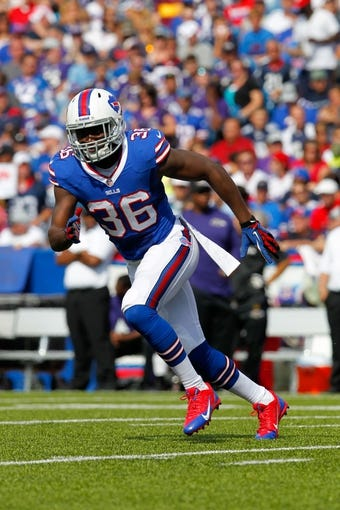 Sep 29, 2013; Orchard Park, NY, USA; Buffalo Bills defensive back Jonathan Meeks (36) during a game against the Baltimore Ravens at Ralph Wilson Stadium. Mandatory Credit: Timothy T. Ludwig-USA TODAY Sports