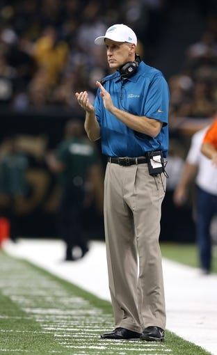 Sep 30, 2013; New Orleans, LA, USA; Miami Dolphins head coach Joe Philbin during the first quarter of their game against the New Orleans Saints at the Mercedes-Benz Superdome. Mandatory Credit: Chuck Cook-USA TODAY Sports